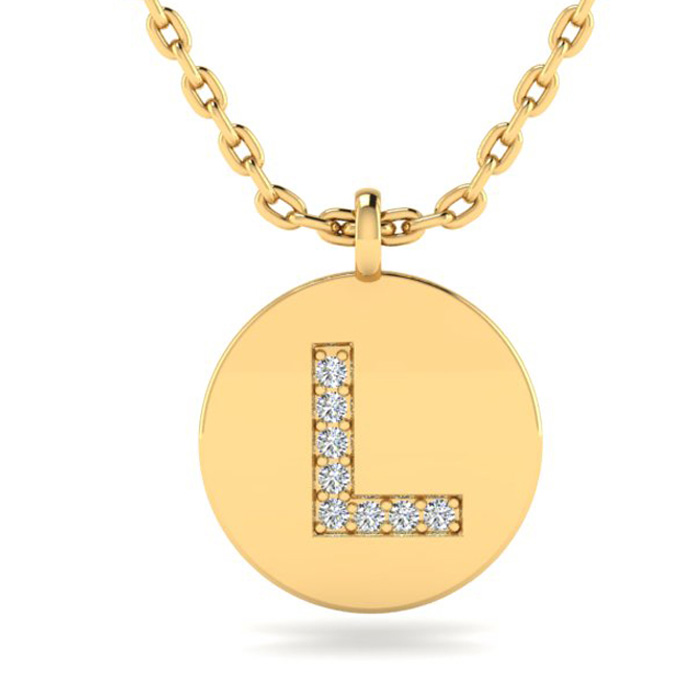 L Initial Necklace In 14K Yellow Gold