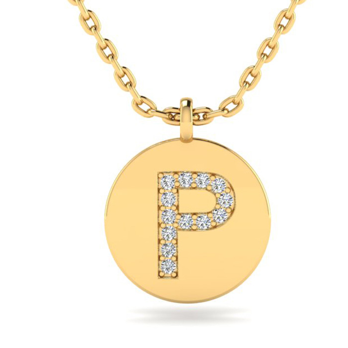 P Initial Necklace In 14K Yellow Gold