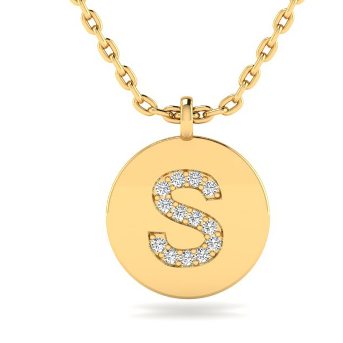 S Initial Necklace In 14K Yellow Gold