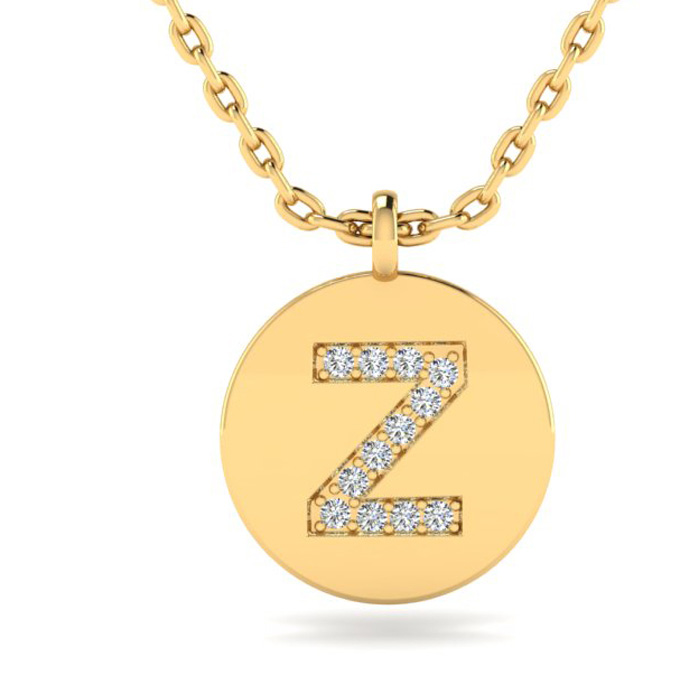 Z Initial Necklace In 14K Yellow Gold