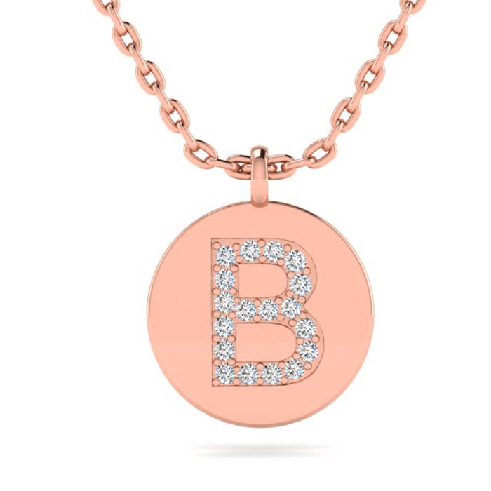 B Initial Necklace In 14K Rose Gold