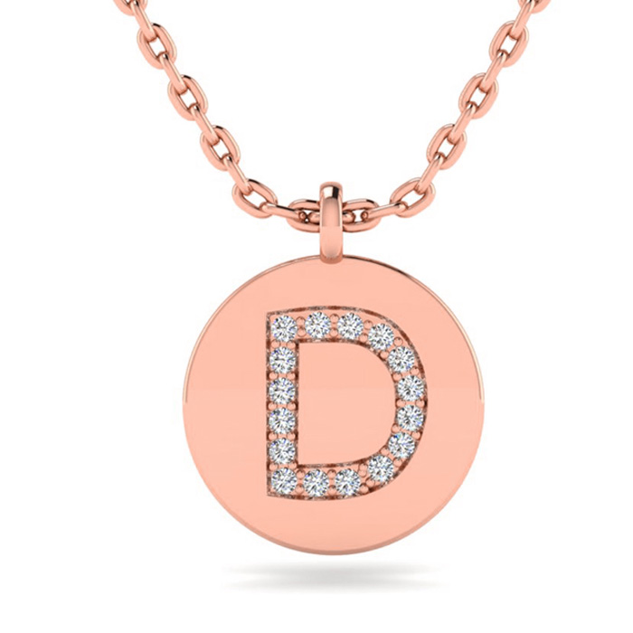 D Initial Necklace In 14K Rose Gold
