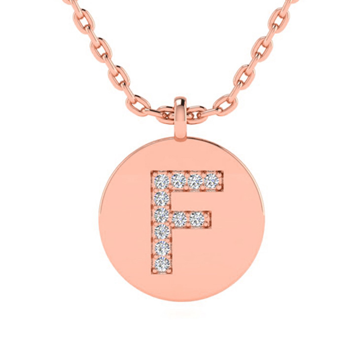 F Initial Necklace In 14K Rose Gold