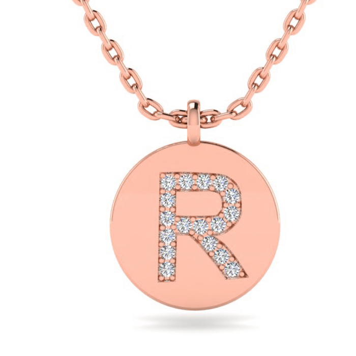 R Initial Necklace In 14K Rose Gold