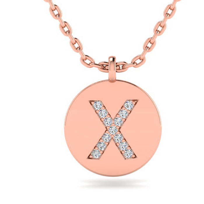 X Initial Necklace In 14K Rose Gold
