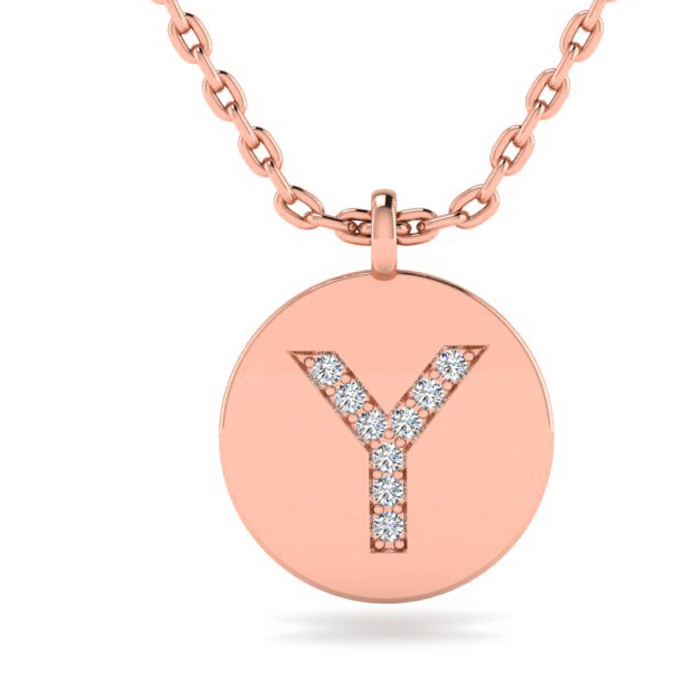 Y Initial Necklace In 14K Rose Gold