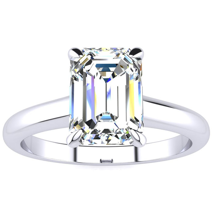 1.5 Carat Emerald Cut Diamond Solitaire Ring in 14K White Gold (3 g) (