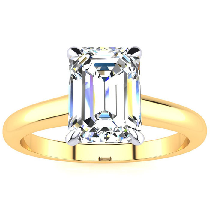1.5 Carat Emerald Cut Diamond Solitaire Ring in 14K Yellow Gold (3 g) (