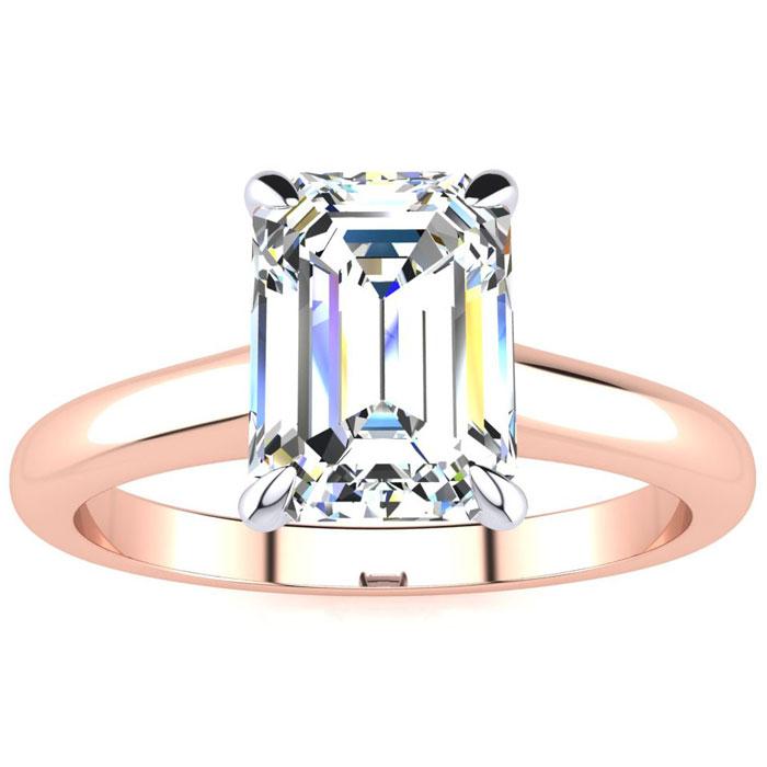 1.5 Carat Emerald Cut Diamond Solitaire Ring in 14K Rose Gold (3 g) (