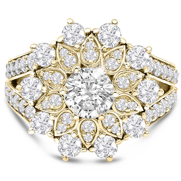 14K Yellow Gold (7.40 g) 3 Carat Diamond Flower Ring