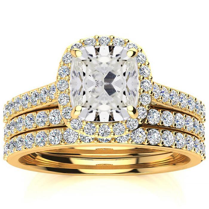3 Carat Cushion Cut Halo Diamond Bridal Set in 14 Karat Yellow Gold
