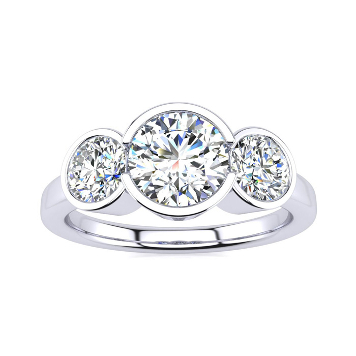 2 1/4 Carat Bezel Set Three Stone 3 Diamond Ring in 14K White Gold (4 g) (