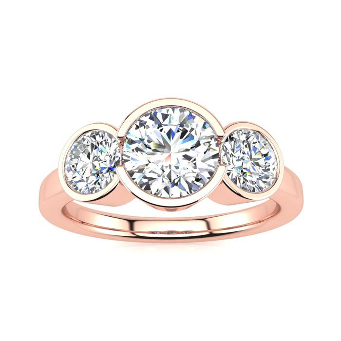 2 1/4 Carat Bezel Set Three Stone 3 Diamond Ring in 14K Rose Gold (4 g) (