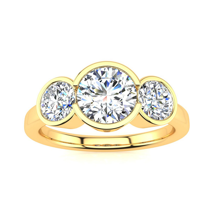 2 1/4 Carat Bezel Set Three Stone 3 Diamond Ring in 14K Yellow Gold (4 g) (