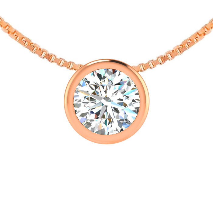 1/4 Carat Bezel Set Diamond Solitaire Necklace in 14K Rose Gold (2.30 g), 18..