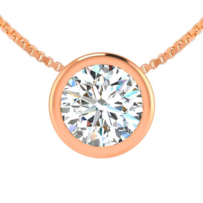 3/4 Carat Bezel Set Diamond Solitaire Necklace in 14K Rose Gold (2.5 g), 18 ..