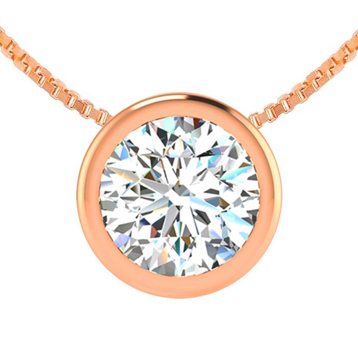 1 Carat Bezel Set Diamond Solitaire Necklace in 14K Rose Gold (2.60 g), 18 I..