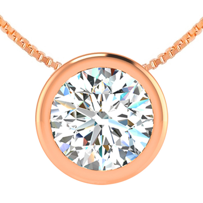 1.5 Carat Bezel Set Diamond Solitaire Necklace in 14K Rose Gold (2.70 g), 18 Inches, H/I by SuperJeweler