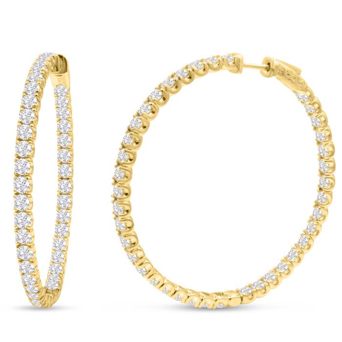 14K Yellow Gold (17 g) 8 Carat Diamond Inside Out Hoop Earrings