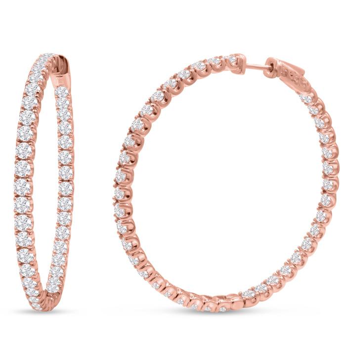 14K Rose Gold (17 g) 8 Carat Diamond Inside Out Hoop Earrings