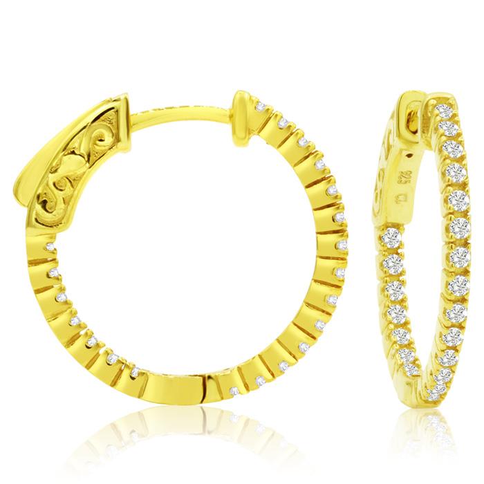 1/2 Carat Crystal Hoop Earrings in 14K Yellow Gold (3 g) Over Sterling Silve..