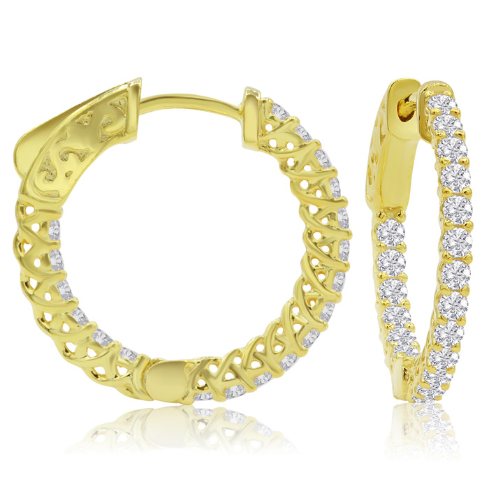 3/4 Carat Crystal Hoop Earrings in 14K Yellow Gold (3.50 g) Over Sterling Si..