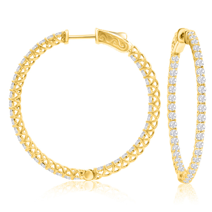 2 Carat Crystal Hoop Earrings in 14K Yellow Gold (7.40 g) Over Sterling Silv..