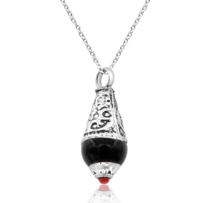 Vintage Tibetan Black Onyx & Coral Teardrop Necklace w/ Free Chain, 18 Inch ..