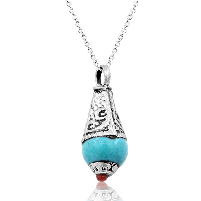 Vintage Tibetan Turquoise & Coral Teardrop Necklace w/ Free Chain, 18 Inch Chain by SuperJeweler