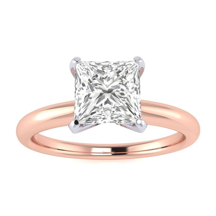 1/2 Carat Princess Cut Diamond Solitaire Engagement Ring in 14K Rose Gold, , Size 4 by SuperJeweler