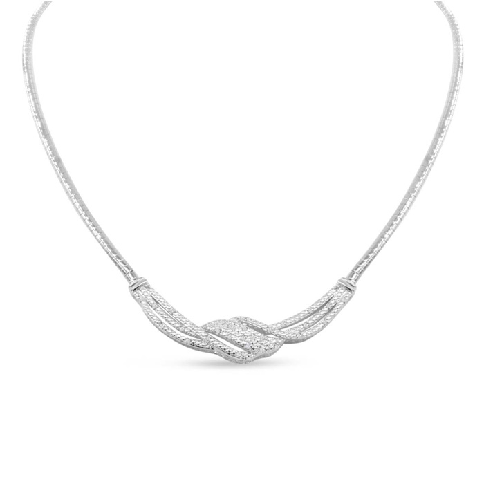 1/4 Carat Diamond Designer Necklace in Platinum Overlay, 18 Inches,  by SuperJeweler