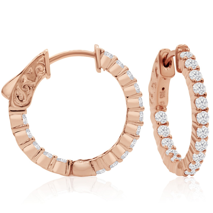 1 Carat Crystal Hoop Earrings in 14K Rose Gold (4 g) Over Sterling Silver, 3..