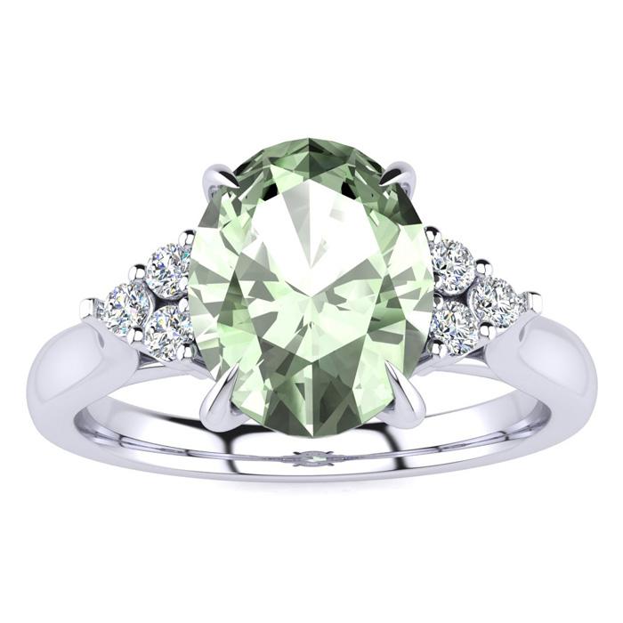 1.5 Carat Oval Shape Green Amethyst & 6 Diamond Ring in 14K White Gold (4 g)..