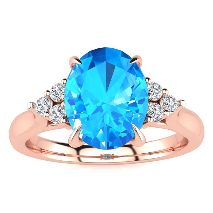 2 1/4 Carat Oval Shape Blue Topaz & 6 Diamond Ring in 14K Rose Gold (4 g), ,..