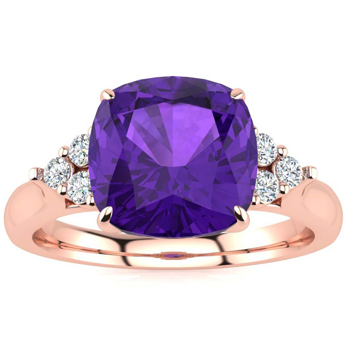 2 1/5 Carat Cushion Cut Amethyst & 6 Diamond Ring in 14K Rose Gold (4 g), I-..