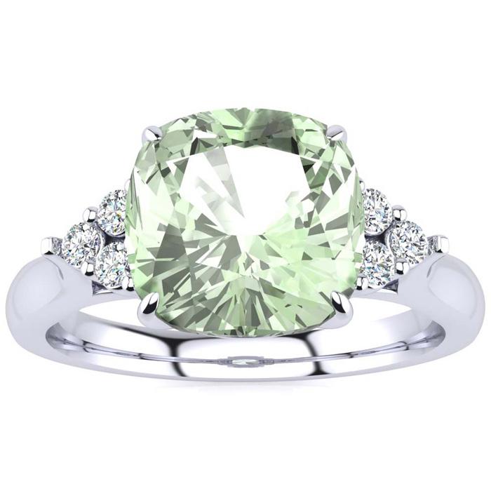 2 1/5 Carat Cushion Cut Green Amethyst & 6 Diamond Ring in 14K White Gold (4..
