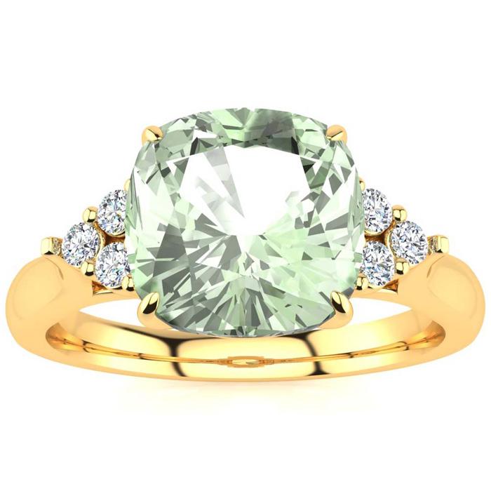 2 1/5 Carat Cushion Cut Green Amethyst & 6 Diamond Ring in 14K Yellow Gold (..