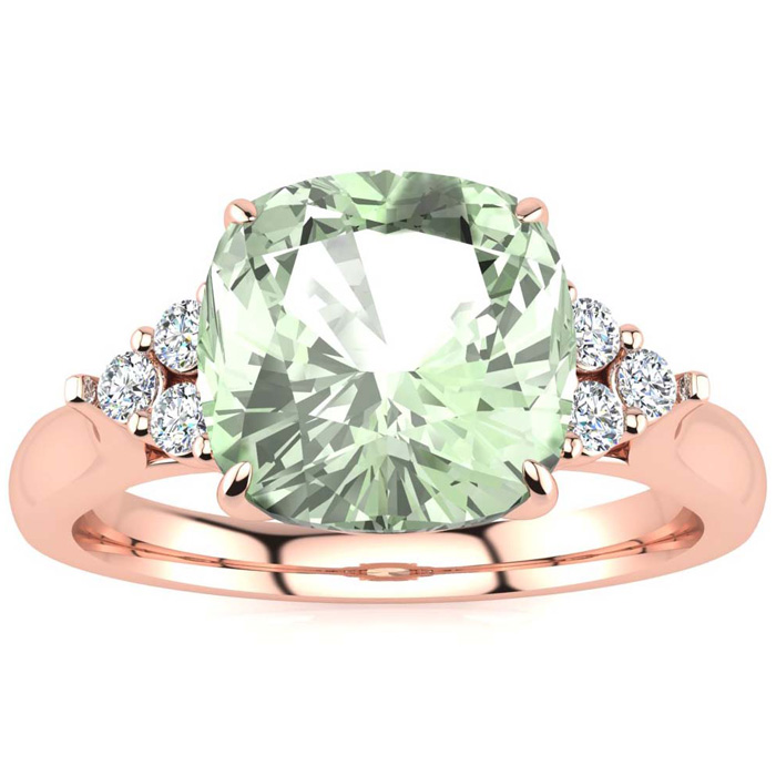 2 1/5 Carat Cushion Cut Green Amethyst & 6 Diamond Ring in 14K Rose Gold (4 ..