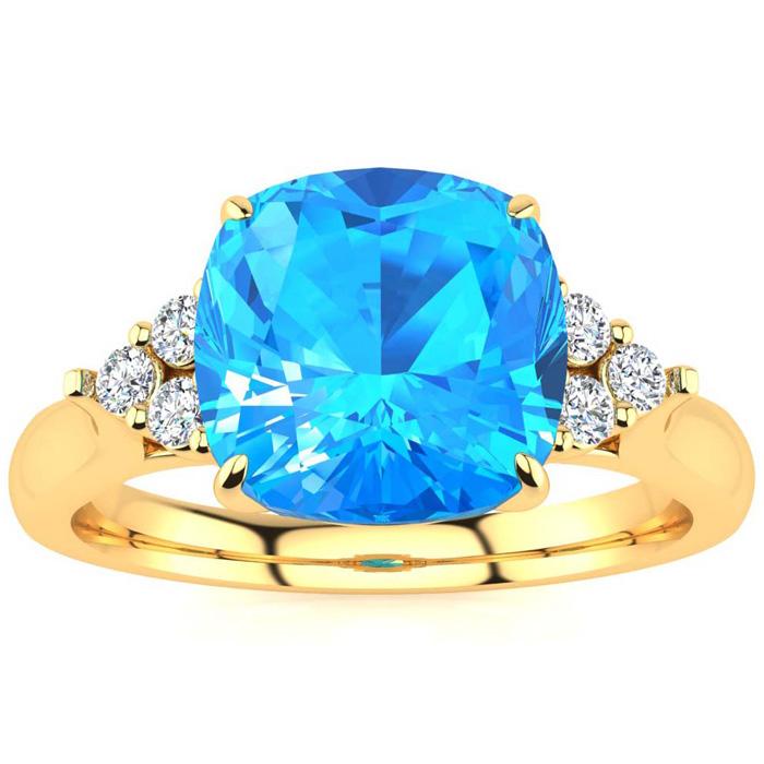 2 3/4 Carat Cushion Cut Blue Topaz & 6 Diamond Ring in 14K Yellow Gold (4 g)..