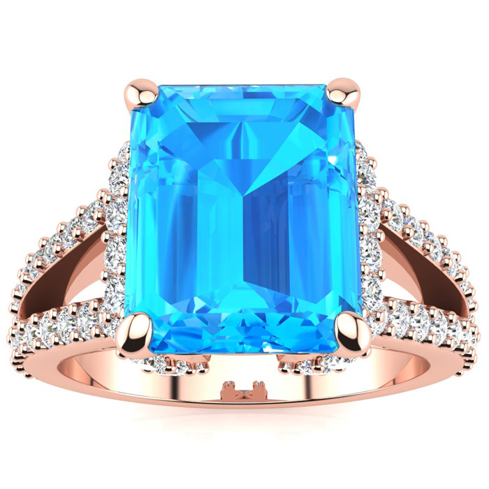 8 3/4 Carat Emerald Cut Blue Topaz & 38 Diamond Ring Crafted in Solid 14K Ro..