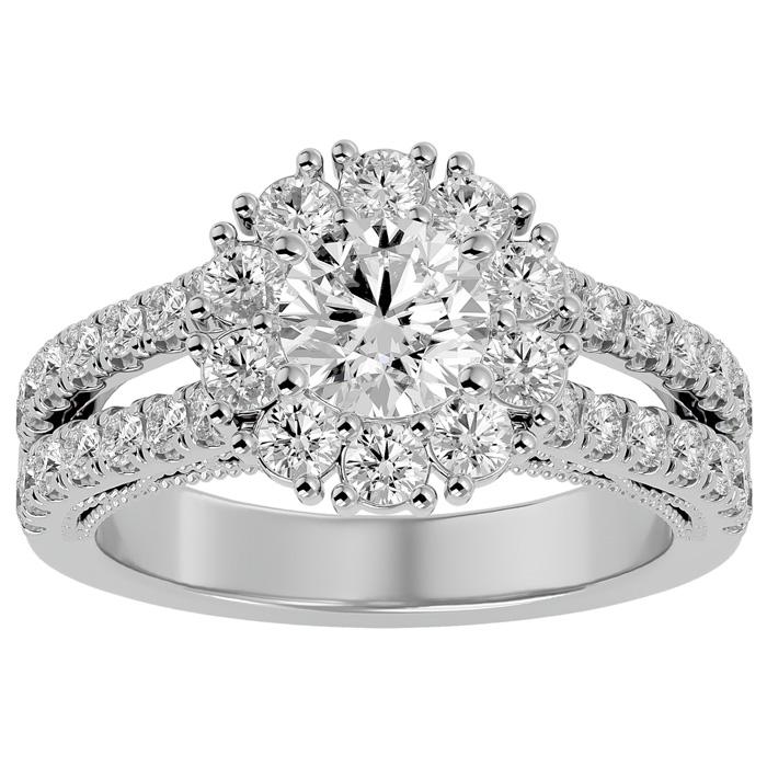 2 1/4 Carat Round Shape Halo Diamond Engagement Ring in 14K White Gold (6.70 g)