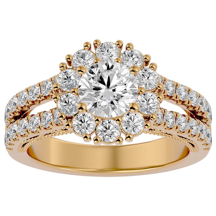 2 1/4 Carat Round Shape Halo Diamond Engagement Ring in 14K Yellow Gold (6.70 g)