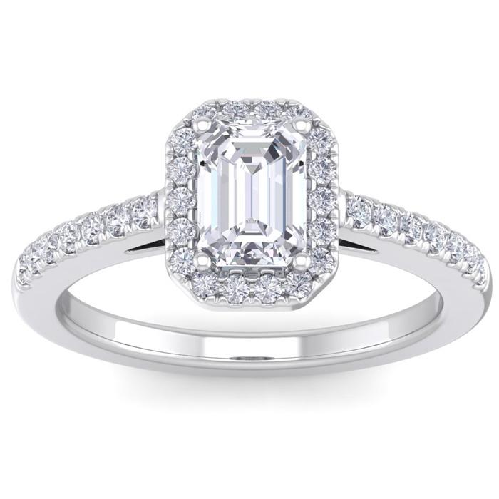 1.5 Carat Emerald Cut Three Stone Ruby Halo Diamond Ring on 10k White Gold