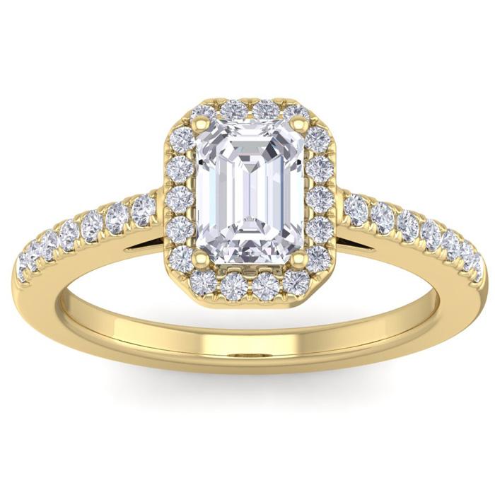 1.5 Carat Emerald Cut Halo Diamond Engagement Ring in 14K Yellow Gold (4.20 g) (