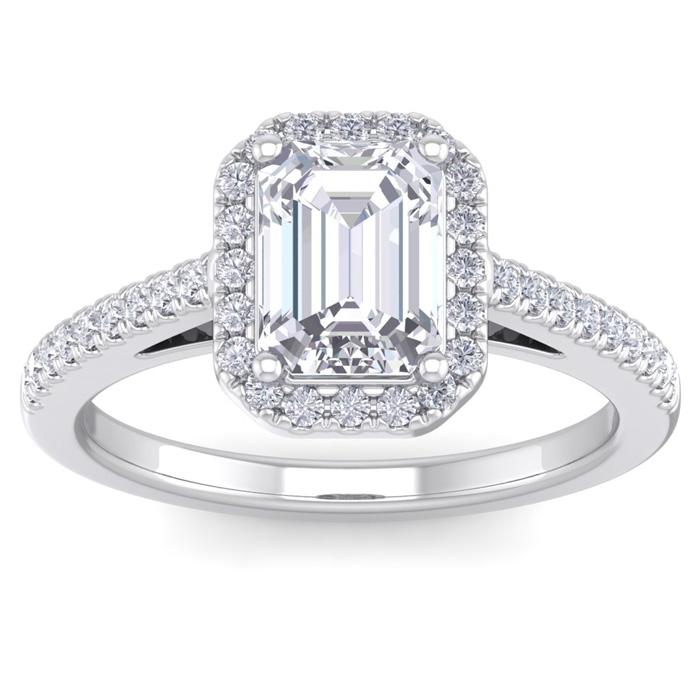 2 Carat Emerald Cut Halo Diamond Engagement Ring in 14K White Gold (4.30 g)