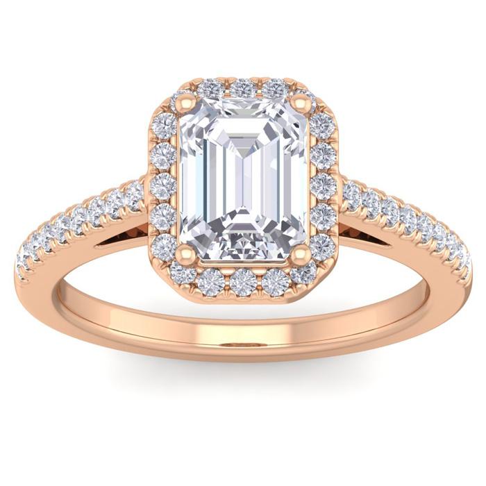 2 Carat Emerald Cut Halo Diamond Engagement Ring in 14K Rose Gold (4.30 g)