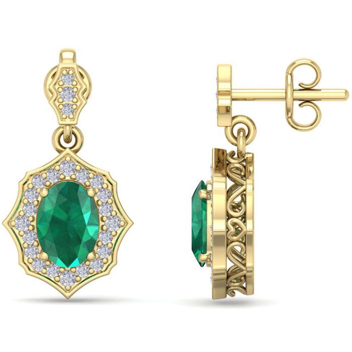 1 3/4 Carat Oval Shape Emerald Cut & Diamond Dangle Earrings in 14K Yellow G..