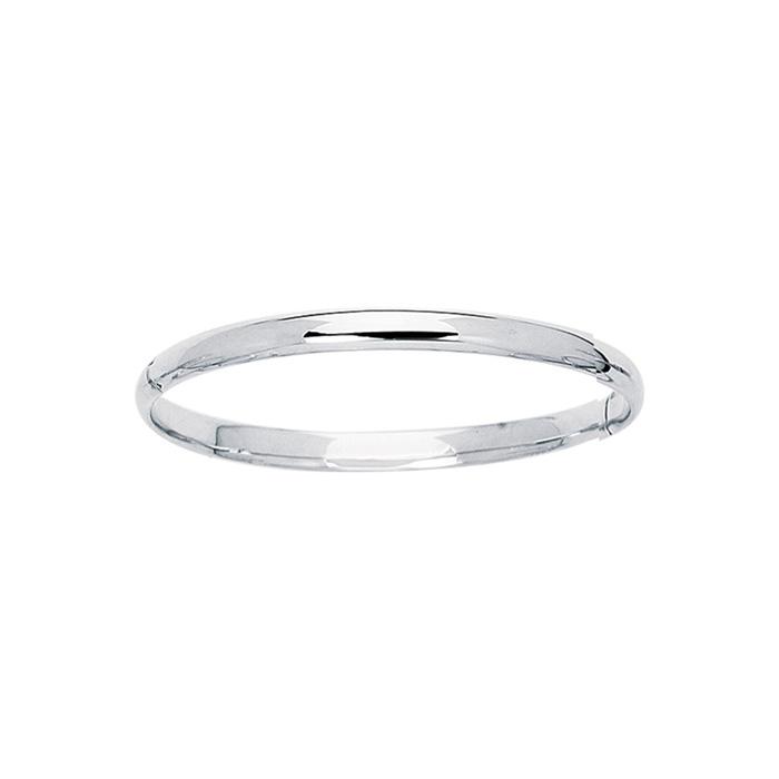 14K White Gold (3.10 g) Kids Bangle Bracelet, 5 1/2 Inches by SuperJeweler