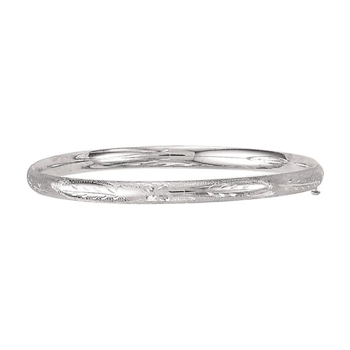 14K White Gold (3.80 g) Kids Leaf Bangle Bracelet, 5 1/2 Inches by SuperJewe..
