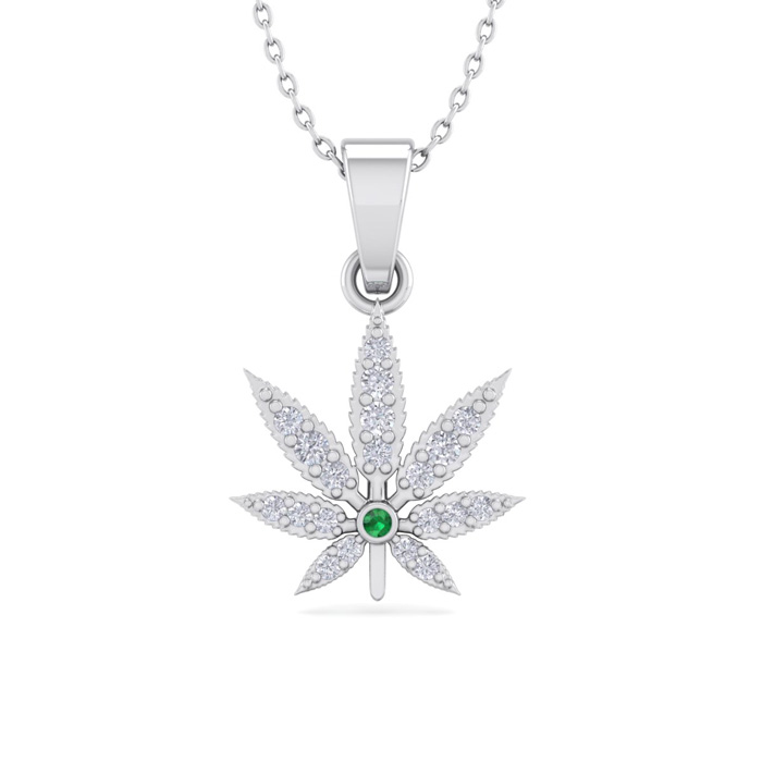 1/4 Carat Diamond & Emerald Cut Weed Leaf Necklace in 14K White Gold (3.30 g..